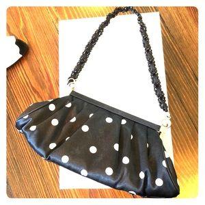 Black and white polka dot evening bag